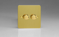 Ultraflat Brushed Brass 2-Gang 2-Way Push-On/Off Rotary Dimmer 2 x 60-400W