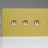 Ultraflat Brushed Brass 3-Gang 1-Way Remote/Touch Control Master LED Dimmer 3 x 0-100W (1-10 LEDs) (Twin Plate)