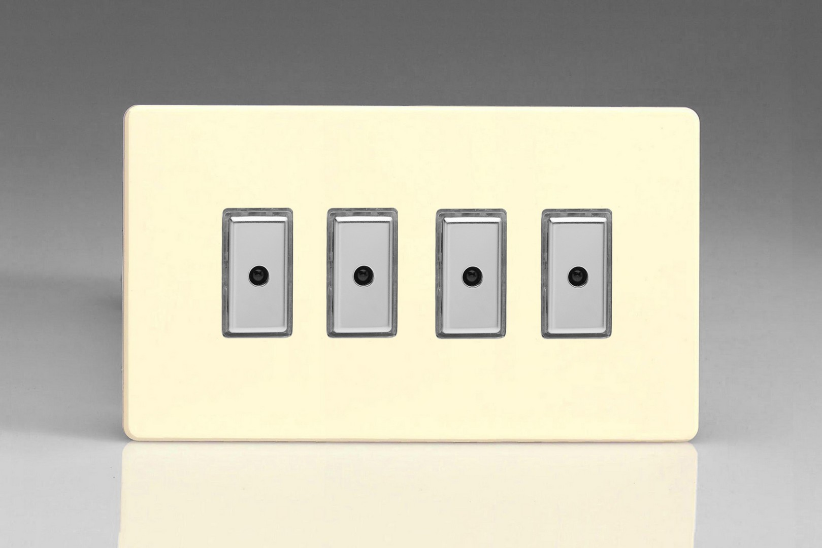 Flat Plate Screwless White Chocolate 4 Gang 1 Way Remote Tactile Light Switch Uk Touch Control Master Led Dimmer X 0 100w 10 Leds