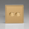 Flat Plate Screwless Brushed Brass 2-Gang 2-Way Push-On/Off Rotary LED Dimmer 2 x 0-120W (1-10 LEDs)
