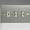 Ultraflat Brushed Steel 3-Gang 1-Way Remote/Tactile Touch Control Master LED Dimmer 3 x 0-100W (1-10 LEDs)