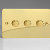 Ultraflat Polished Brass 3-Gang 2-Way Push-On/Off Rotary LED Dimmer 3 x 0-120W (1-10 LEDs) (Twin Plate)