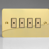 Ultraflat Polished Brass 4-Gang 1-Way Remote/Tactile Touch Control Master LED Dimmer 4 x 0-100W (1-10 LEDs)