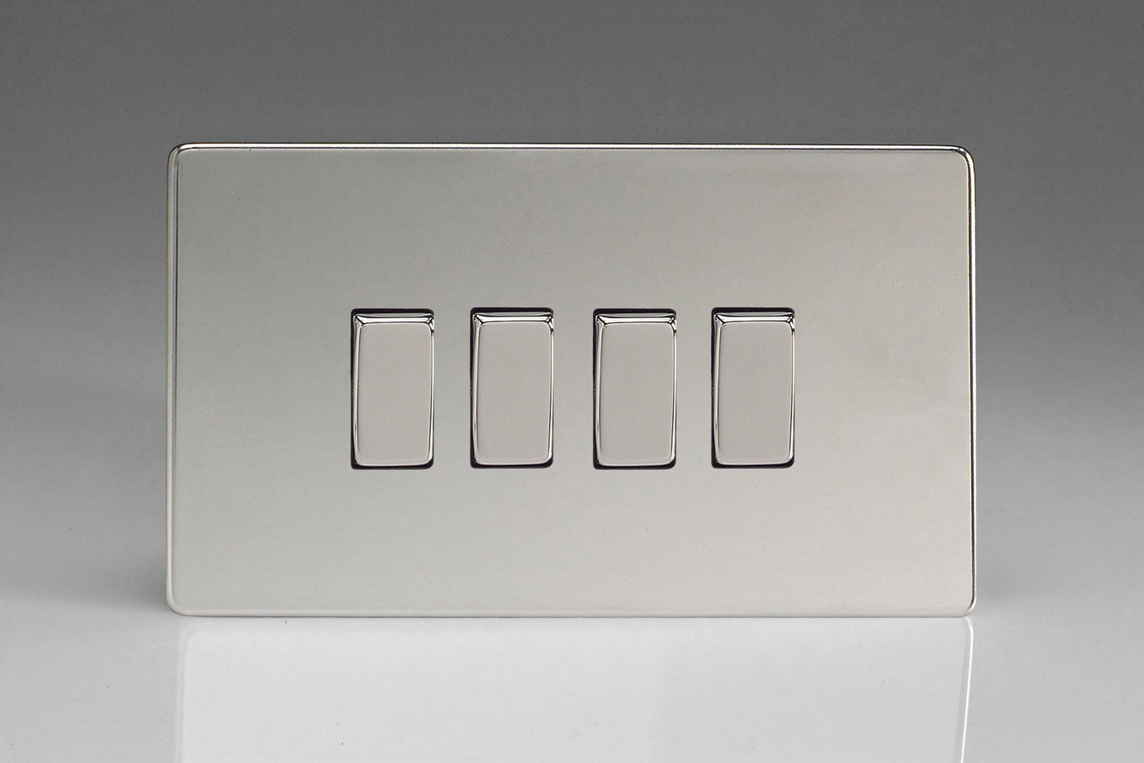 Rocker Switch Plate Alluring Flat Plate Screwless Polished Chrome 4Gang 10A 1 Or 2Way Rocker Design Inspiration