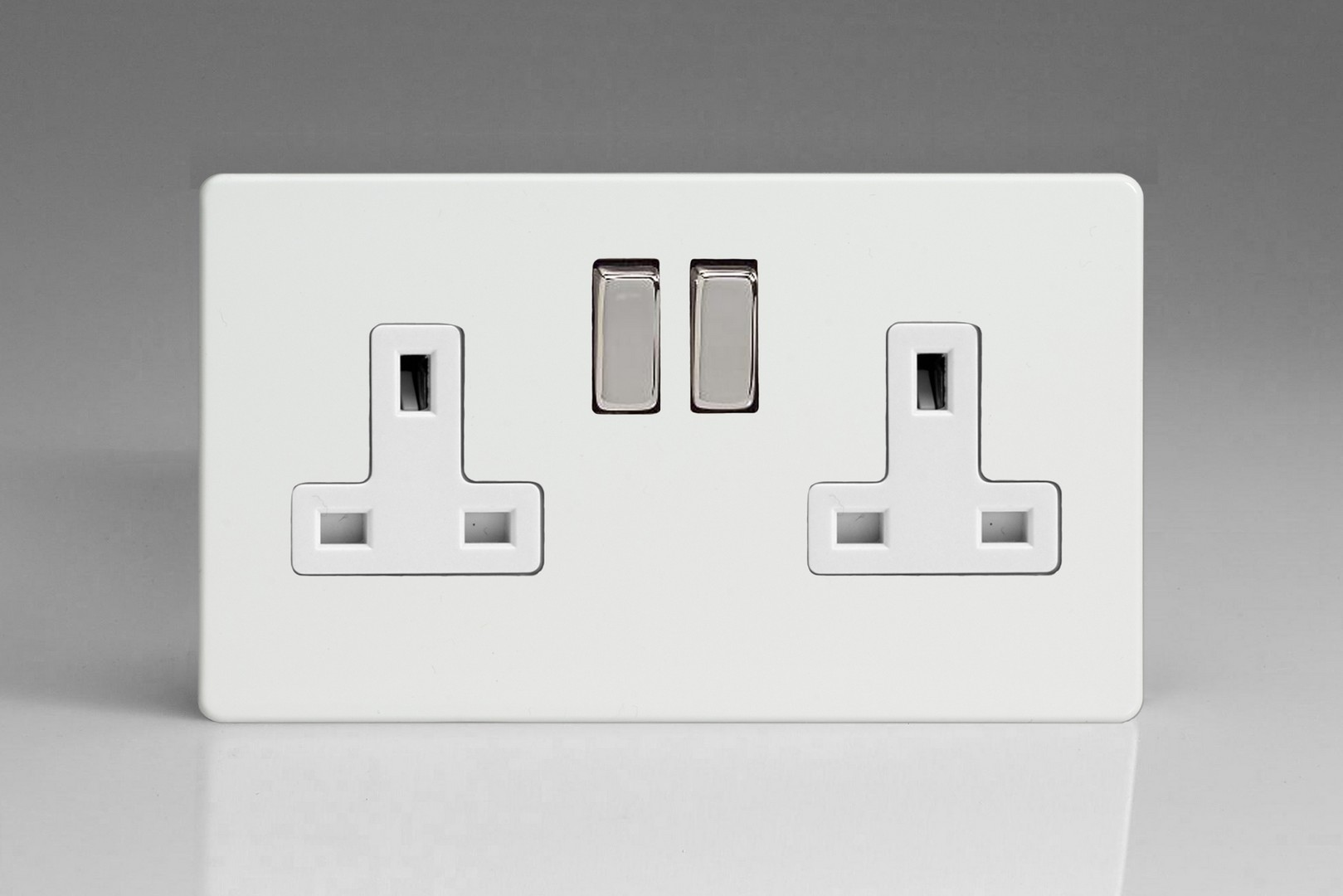 Socket Plate Custom Flat Plate Screwless Premium White 2Gang 13A Double Pole Switched Inspiration Design