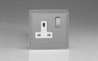 Flat Plate Screwless Jubilee Brushed Steel 1-Gang 13A Double Pole Switched Socket with Metal Rockers