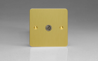 Ultraflat Brushed Brass 1-Gang TV Socket, Co-Axial