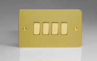 Ultraflat Brushed Brass 4-Gang 10A 1- or 2-Way Rocker Switch (Twin Plate)