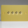 Ultraflat Brushed Brass 4-Gang 10A 1- or 2-Way Toggle Switch (Twin Plate)