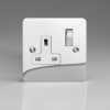 Ultraflat Polished Chrome 1-Gang 13A Double Pole Switched Socket with Metal Rockers