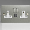 Ultraflat Brushed Steel 2-Gang 13A Single Pole Switched Socket with Metal Rockers + 2 5V DC 2100mA USB Charging Ports