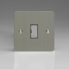 Ultraflat Brushed Steel 13A Unswitched Fused Spur with Metal Inserts