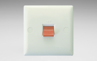 White Value 45A Cooker Switch (Single Plate, Red Rocker)