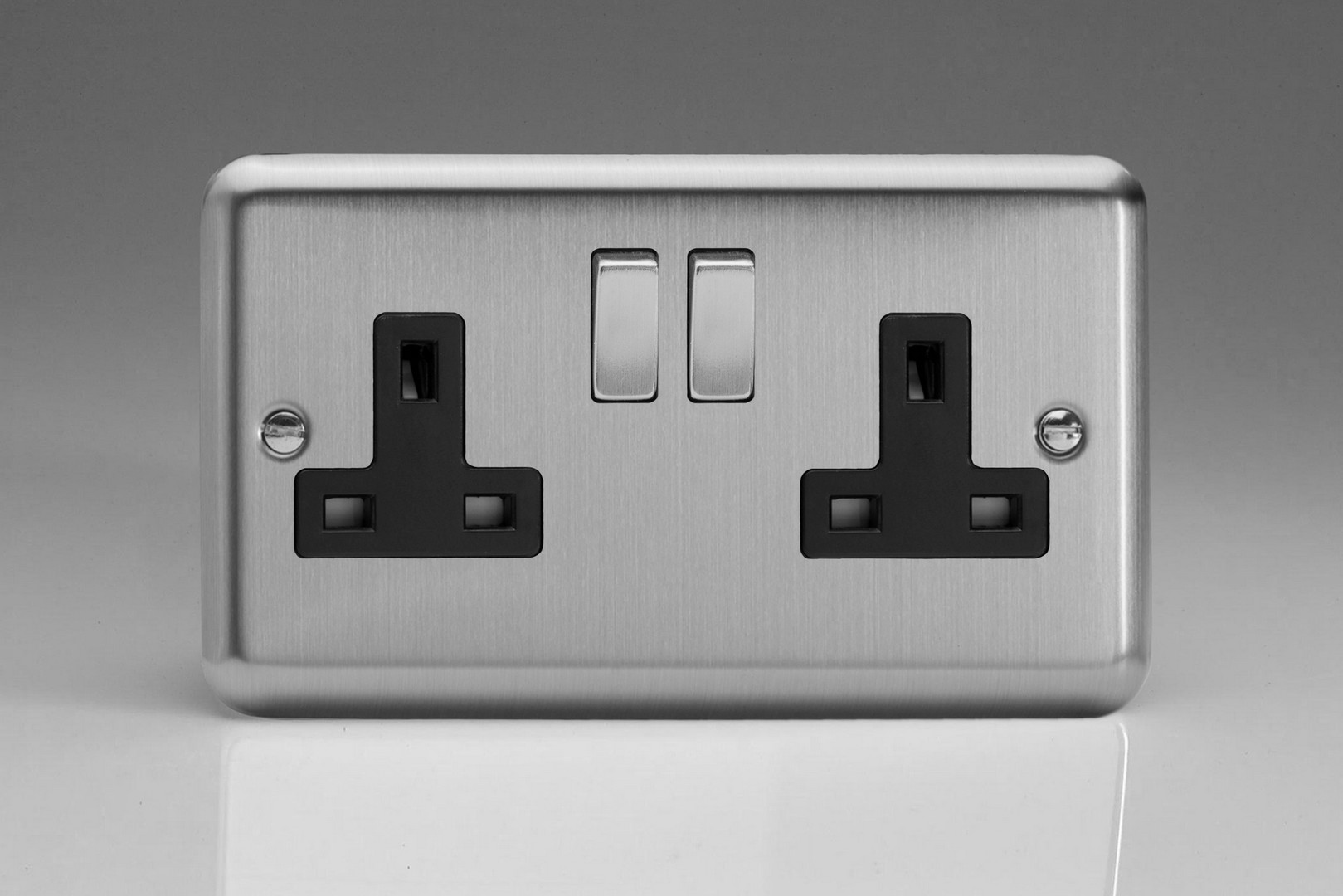 Classic Matt Chrome 2-Gang 13A Double Pole Switched Socket with ...