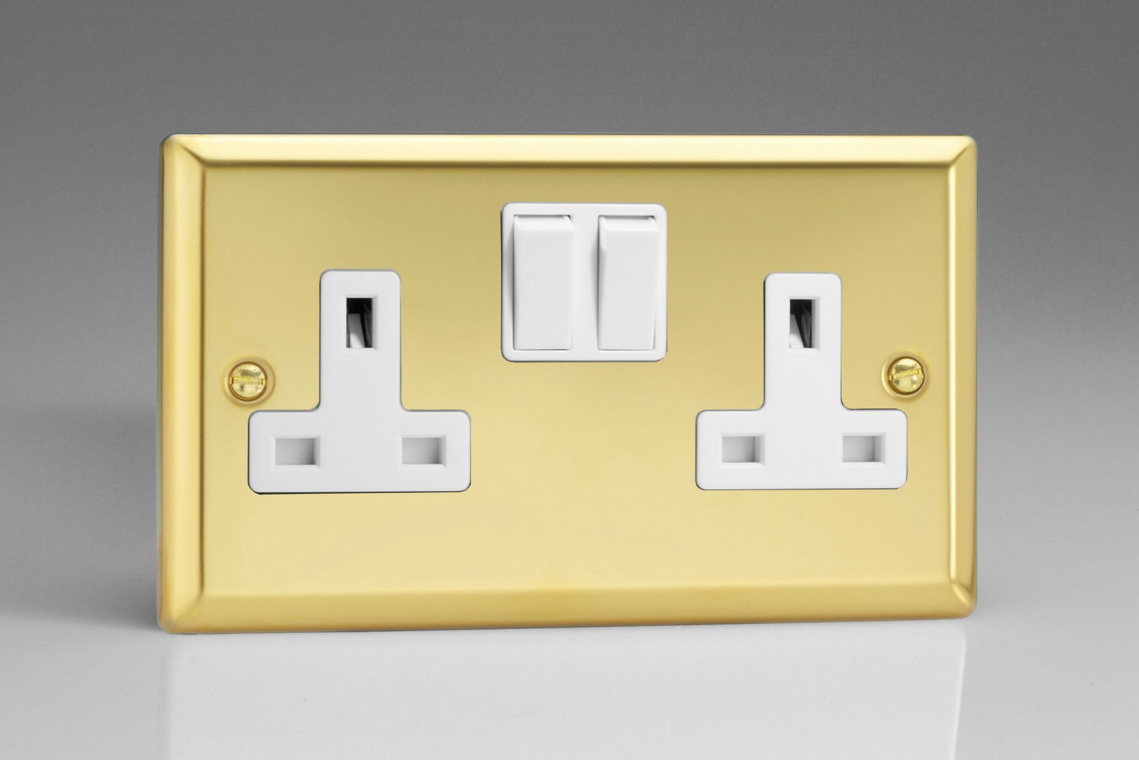 Classic Victorian Brass 2-Gang 13A Double Pole Switched Socket ...