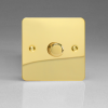 Ultraflat Polished Brass 1-Gang 2-Way Push-On/Off Rotary LED Dimmer 1 x 15-220W (max 26 LEDs)
