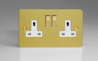 Ultraflat Brushed Brass 2-Gang 13A Double Pole Switched Socket with Metal Rockers