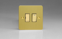 Ultraflat Brushed Brass 13A Switched Fused Spur + Neon with Metal Inserts