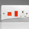 Ultraflat Polished Chrome 45A Cooker Panel with 13A Double Pole Switched Socket Outlet (Red Rocker)