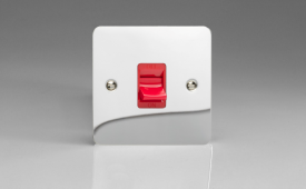Ultraflat Polished Chrome 45A Cooker Switch (Single Plate, Red Rocker)