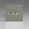 Ultraflat Brushed Steel 2-Gang 10A 1- or 2-Way Toggle Switch